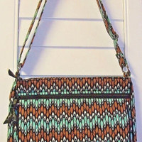 Vera Bradley Large Cross Body Bag In Sierra Stream Turquoise EUC