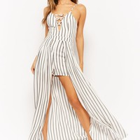 Striped Crisscross Maxi Skort Romper