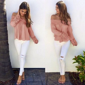 LMFON Fashion Off Shoulder T-shirt Solid Color Lace Stitching Long Sleeve Tops