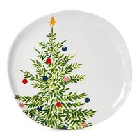 Decorated Tree 11in Melamine Dinner Plate Green and White - Threshold™