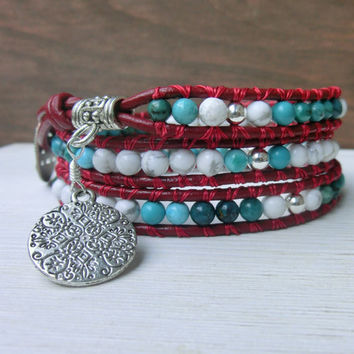 Red and True - Japanese Powerstone Turquoise - Howlite - Silver - Leather Wrap Bracelet by Off on a Whim