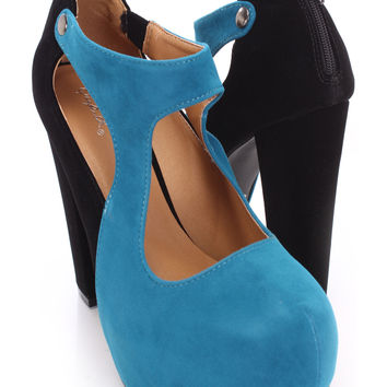 Teal Two Tone Chunky Heels