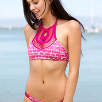 Bettinis - Crochet Halter Top / Pink Static