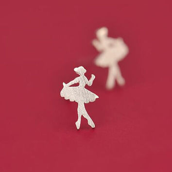 Silver Ballerina Earrings