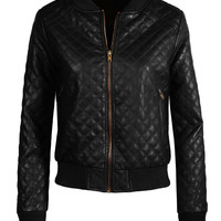 LE3NO Womens Quilted Faux Leather Zip Up Moto Jacket