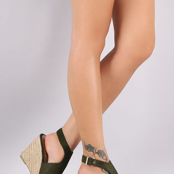 Suede Peep Toe Ankle Strap Espadrille Wedge Mules