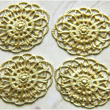 Brass Filigree Oval Wrap Pendant Ornate Vintage Style Stamping 29mm x 22mm  - 4 pcs