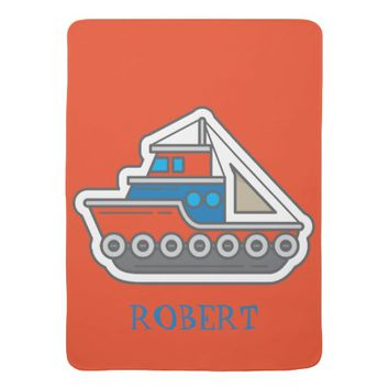 Cute Personalized Red Blue Gray Tugboat Baby Swaddle Blanket