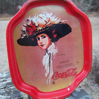 Vintage Coca Cola Tip Tray--Red Tin Serving Tray--Gibson Girl--Drink Coke--Reproduction--Hamilton King