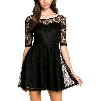 Mesh Lace Mini Dress, Black