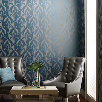 Paradox Wallpaper in Metallic Blue design by York Wallcoverings