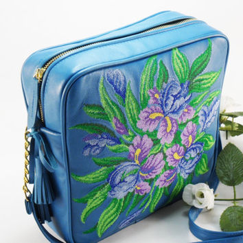 Embroidery and Leather Bag  Large Teal  Boho Purse Embroidered Leather Bag  Embroidered  Bag. Bag over his shoulder . Turquoise leather bag.