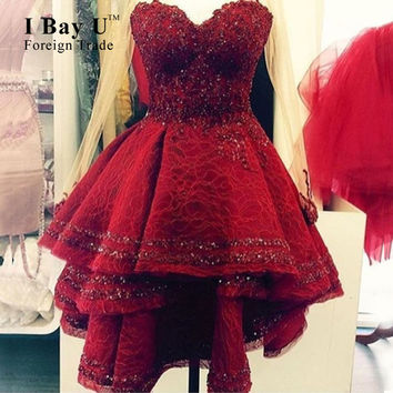 I Bay U Full Lace Maroon Sweetheart Beaded Elegant Cocktail Dresses With Train Vestidos De Graduacion Red High Low Prom Dresses
