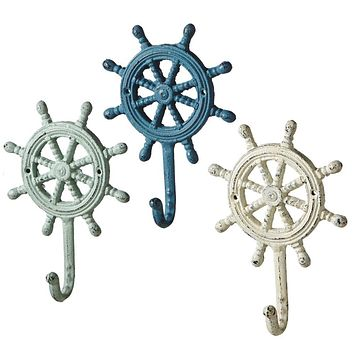 Ship's Wheel | Antique Style Weathered Wall Hooks Set of 3
