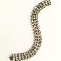 Vintage, 7 Inch - Made in Czechoslovakia Bracelet of Three Rows of Prong Set Round Faceted Rhinestones