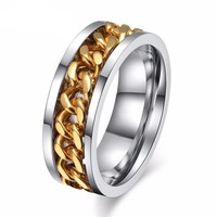 Rotatable Chain Man Ring Titanium Stainless Steel Rings Punk Ring
