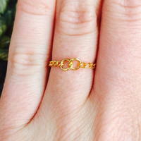Eternity Gold Chain Ring- Two Ring Infinity 14k Gold Plated