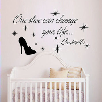 Quote Cinderella Wall Decals Shoes Decal Nursery Girl Room Decor Sticker MR358