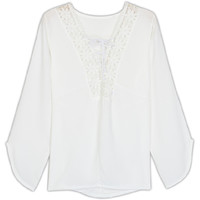 White Crochet Lace Tie Front Flare Long Sleeve Blouse