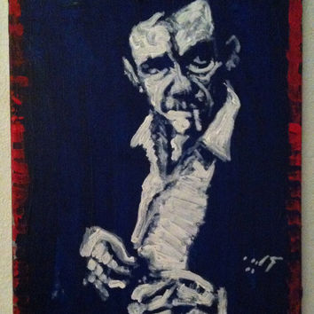 American Pop Art Painting 16x20 Johnny Cash Art Music Art Rock Art Modern Country Decor Americana Red White and Blue