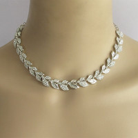 Leaf Choker Set/Silver Wedding Choker Jewelry/Bridal Necklace Set/ Prom Necklace