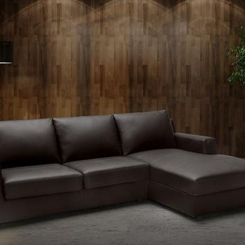 Billy J Premium Leather Sectional Sleeper Sofa Bed - Right Sided