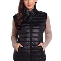 Womens Black Quilted Cotton Down Vest