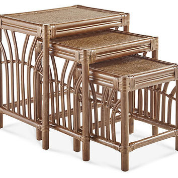 New Kauai Rattan Nesting Tables, Natural - South Sea Rattan - Brands | One Kings Lane