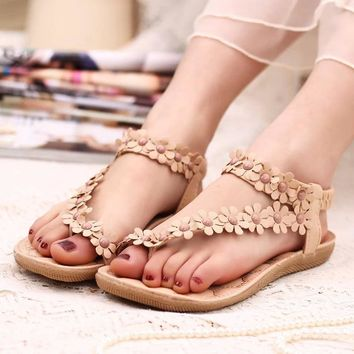 Women shoes flat sandals comfort sandals women Summer Classic beading 2016 fashion Sum