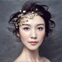 Metting Joura Wedding Party Romantic Gold Metal Leaf Headband Hairband Bridal Bride Headband Bridal  Hair Accessories