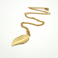 Gold feather necklace, simple gold leaf pendant, long gold necklace, boho jewelry, gold feather pendant, simple layering necklace