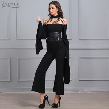 Women Fashion Jumpsuits Halter Bat sleeves Full Length PU Sashes Loose Black Jumpsuits