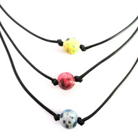 Tye Dye Pearl on a Cord - Red