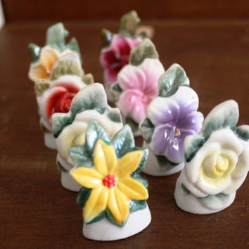 Two Sets of Eight Vintage Flower Place Card Holders -Made in Japan.