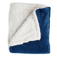 Andrea Twin-size Navy Super Soft Melange Waffle Throw