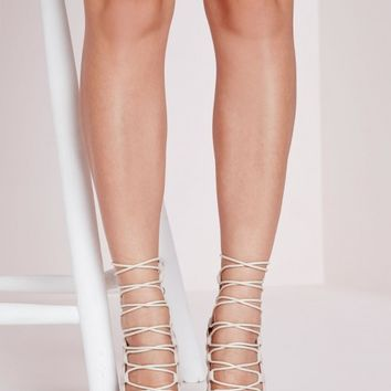 PEEP TOE LACE UP SANDAL NUDE