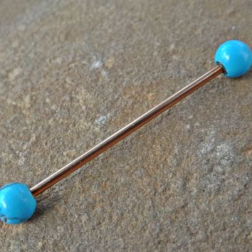 Rose Gold Industrial Barbell Turquoise Scaffold Piercing 14ga Body Jewelry Piercing Jewelry 316L Surgical Stainless Steel