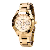 Fossil ES2859 Women's Stella Rose Gold Plated Stainless Steel Dual Time Watch