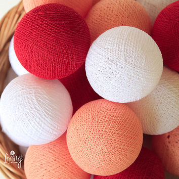 Red Tone 20 Handmade Cotton Ball Patio Party String Lights – Fairy, Wedding, Holiday, Home Décor
