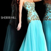 Long Embellished Strapless Formal Gown