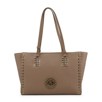 Versace Brown Synthetic Leather Shopping Bag