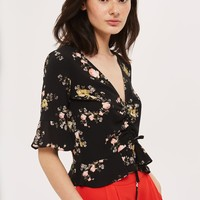 Floral Ruched Top | Topshop