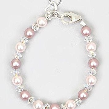 AUGUAU Crystal Dream Elegant Baby Girl Gift Bracelet with Swarovski Pink and Rose Simulated Pearls and Crystals (BPLR)
