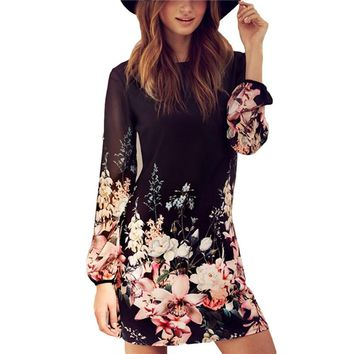 Round Collar Long Sleeve Back Zipper Floral Print Loose Chiffon Dress