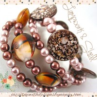 Handmade Bracelet Stack Wrap Brown Black Spotted Shell Lampwork Glass