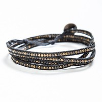 Copper Beaded Black Wrap Bracelet