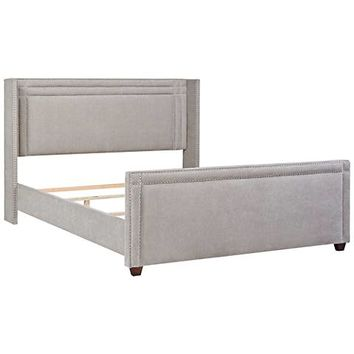 Jennifer Taylor Elle Silver Gray Fabric King Wingback Bed - #33G93 | Lamps Plus