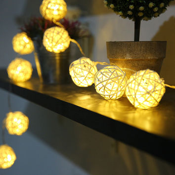 5M Rattan Ball String Decor Lights