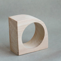 40 mm Wooden bangle unfinished corner - natural eco friendly IL40