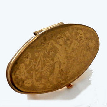 "Lipstick Holder with Mirror, Stratton ""Lip view"", Vintage Unused Gold Lipstick Clip Mirror Compact, Made in England"